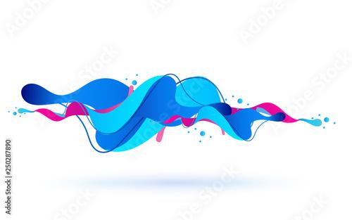 Cuadros en Lienzo Multicolored abstract fluid sound wave. Vector illustration.