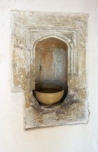 Holy Cross Church, Bearsted, Kent, UK. A Holy Water Stoup In The 14th Century South Porch Of The Church