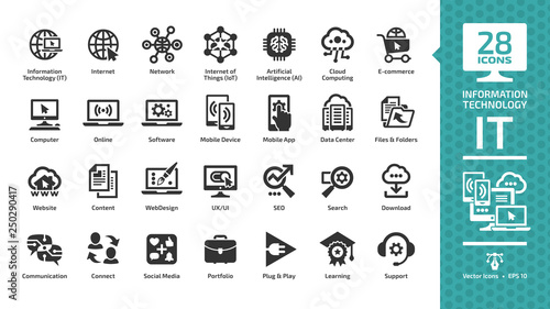 Fotografía  Information technology glyph icon set with IT network system, global internet, data center, communication, web site, social media, seo business, e-commerce, support, computer and mobile device sign