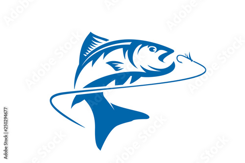 Stampa su Tela Fishing vector design logo template. - fish logo Vector - Vector