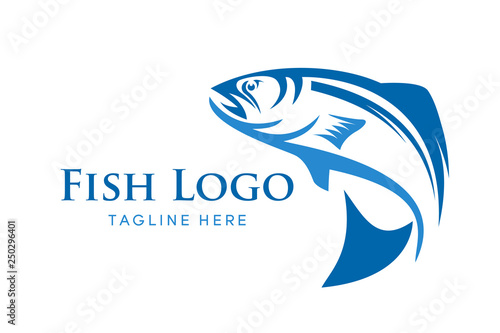 Fotografija Fishing vector design logo template. - fish logo Vector - Vector