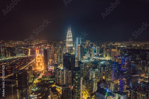 Poster Kuala Lumpur Kuala lumpur cityscape. Panoramic view of Kuala Lumpur city skyline at night viewing skyscrapers building in Malaysia