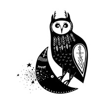 Vector Childish Illustration. Hand-drawn Owl Sitting On The Moon. Black And White