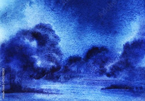 streszczenie-tlo-akwarela-z-puszyste-cumulus-zarosniete-krzewy-noc-ciemne-niebo-recznie-rysowane-ilustracji-na-mokrym-papierze