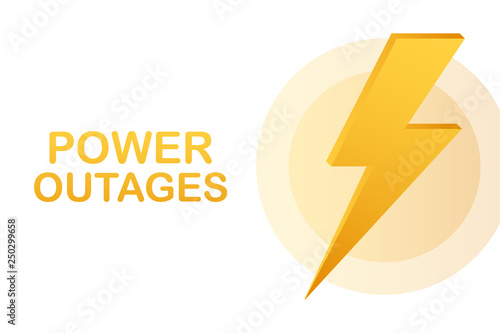 Fotografía  Power outages. Badge, icon, stamp, logo. Vector illustration.
