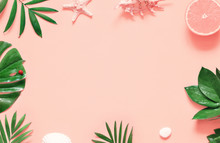 Tropical Background. Palm Trees Branches With Starfish And Seashell On Pink Background. Travel.