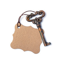 Concept Of New Life, Dream Or House With Vintage Key And Mock Up Empty Tag