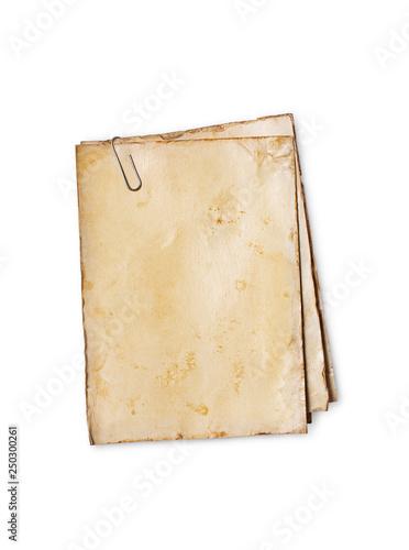 Obraz na plátně  Blank old yellowed paper mockup for vintage photos or postcards