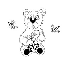 Black And White Bear Drawn By Hand. Cartoon Bear Eats Honey, And Bees Are Flying Above It. Vector. Positive Pattern.The Illustration Is Suitable For Postcards, Wallpapers, Children's Books, For Differ