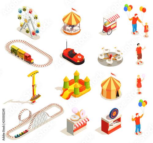 Carta da parati Amusement Park Isometric Icons