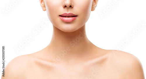 Photo Woman Beauty Skin Care, Model Face Lips Neck and Shoulders Isolated over White B