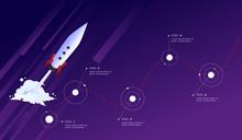Startup Route To Success. Rocket Ballistics Path Timeline. Vector Infographics.