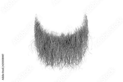 Photo Disheveled grey beard isolated on white. Mens fashion