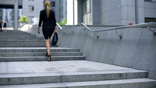 Business Lady Climbing Stairs ...