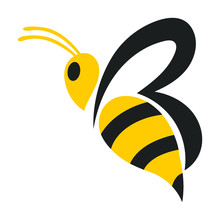 Bee Logo Template Vector Icon Illustration Design - Vector White Background With Black And Yellow Colour