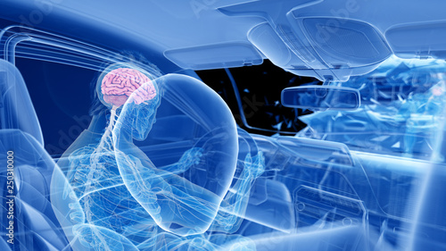 3d rendered illustration of two colliding cars - illustrating the effect of an i Canvas Print