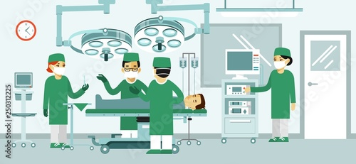 Fotografia Medicine surgery concept with surgeons and patient in operating room
