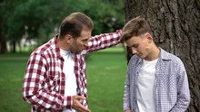 Dad Scolding His Son For Bad Behavior, Education Process, Fathers And Children