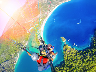Paragliding in the sky. Par...
