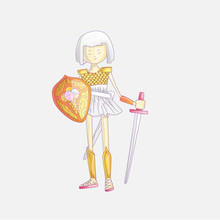Vector Cartoon Warrior Girl Illustration With Sword And Shield, In Crown And Armour. Cute Princess In Crown And Warrior Dress With Armor, Cute Illustration. Cute Princess Warrior Illustration