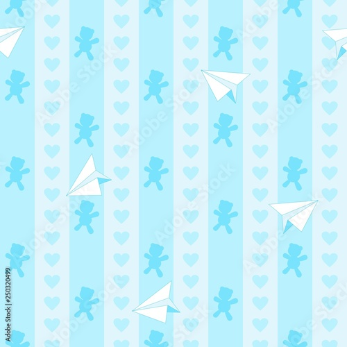 Tuinposter Draw Teddy Bear Hearts and Paper Plane Cute Baby Boy Vector Seamless Pattern
