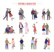 Flat cartoon happy romantic couples walking together on white background. Standing single lonely girl or pairs of men and women on date. Modern colorful vector illustration.