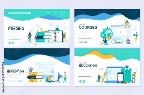 Website And Mobile Website Development Illustration Concepts Set Of Web Page Design Templates For Online Courses Distance Education E Learning Tutorials Modern Vector Web Page Buy This Stock Vector And Explore Similar