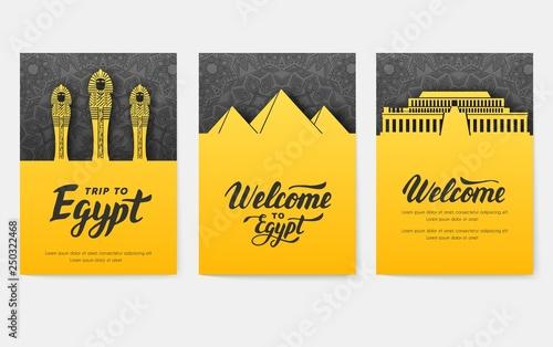 Fotografija Set of Egypt country ornament illustration concept