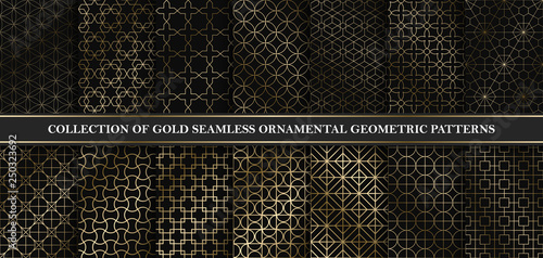 Photo  Collection of art deco vector geometric patterns - seamless luxury gold gradient design