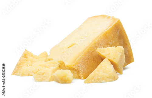 Fototapeta Parmesan cheese isolated on white obraz