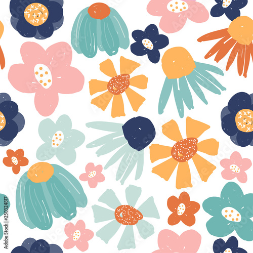 Funny hand drawn flowers seamless pattern Canvas Print