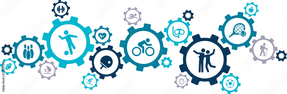 Fototapety, obrazy: sports & fitness icons / gears concept design - vector illustration
