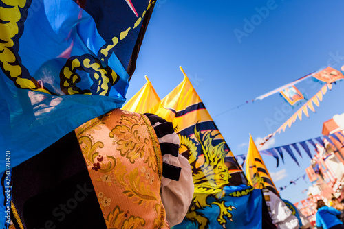 Flags of the brotherhood of Sbandieratori Di Fivizzano parading in a medieval festival Wallpaper Mural