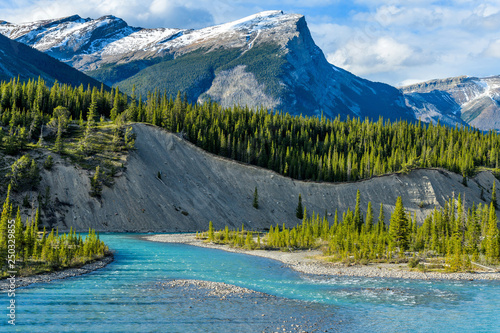 Acrylic Prints Forest river Blue River - Colorful streams of Saskatchewan River calmly flowing through a steep mountain valley, Banff National Park, AB, Canada.