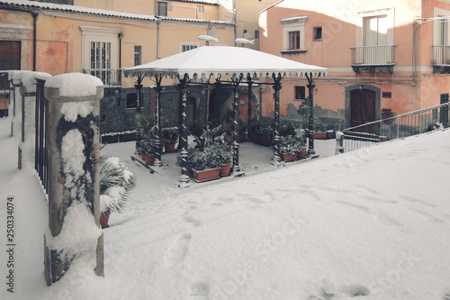 Fényképezés  Adrano Old Town Winter Street, Sicily