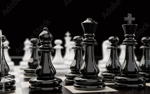 Photo Black chess pieces extremely close up