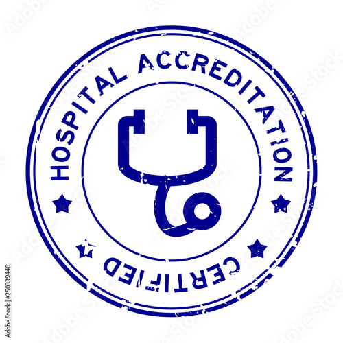 Grunge blue hosptial accreditation with stethoscope icon round rubber seal stamp Canvas Print