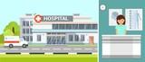 Hospital Exterior and Ambulance Flat Illustration