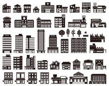 いろいろな建物のイラ...