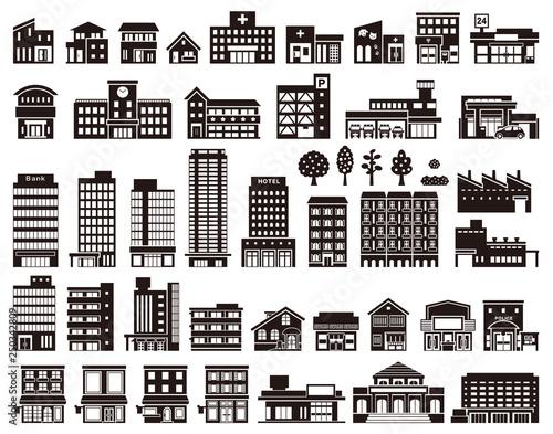 Obraz いろいろな建物のイラスト - fototapety do salonu