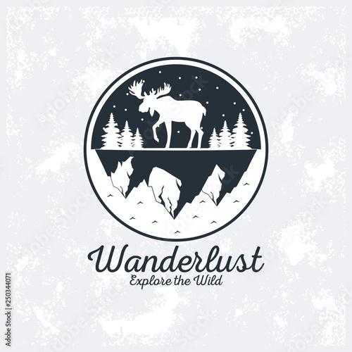 Obraz wanderlust adventure logo - fototapety do salonu