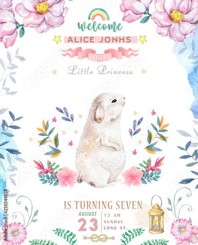 Photo  Cute happy birthday card with cartoon Bunny