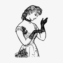 Vintage Lady Wearing Gloves
