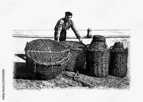 Fisherman vintage drawing