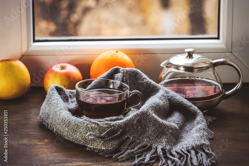 cup of tea in a knitted scarf with fruit on the background of the window.