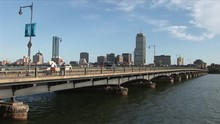 View Of Harvard Bridge Over The Charles River In Boston United States