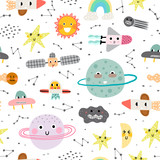 Fototapeta Space - Cute seamless pattern with planet, star and rocket. Vector illustration for children. Trendy kids vector background.