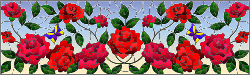 Naklejka Witraże świeckie Illustration in stained glass style with flowers, butterflies and leaves of rose on the sky background