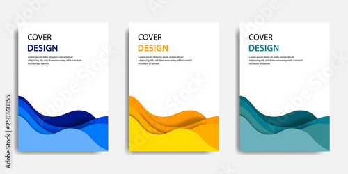Vector illustration, document mock up template, easy color adjustment. Paper cut topographic style in colorful wave layering. Suitable for book cover, annual report, flyer, poster, brochure.