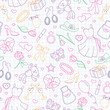 Seamless pattern on the theme of women, women's accessories and items, contour icons are drawn with colored markers on the clean writing-book sheet in a cage